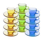 Stacks of Tea Cups and Saucers Royalty Free Stock Photos