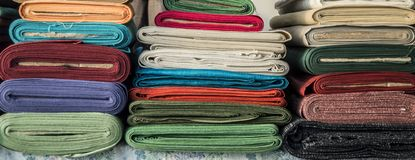 Stacks of textile Stock Images
