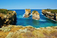 Stacks of Twelve Apostels, Australia. Twelve Apostels on the Great Ocean Road, Australia Royalty Free Stock Images