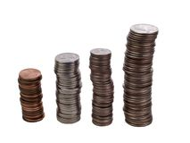 Stacks of US Coins Growth Graph Stock Photos