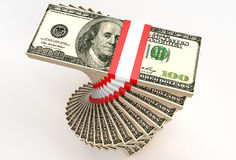 Stacks of 100 US Dollar Stock Photo