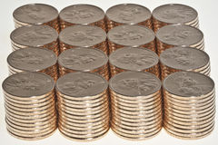 Stacks of  US dollar gold coins. Stacks of  dollar gold coins with native american sacagawea's image Royalty Free Stock Photo