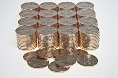 Stacks of  US dollar gold coins. Stacks of  dollar gold coins with native american sacagawea's image Royalty Free Stock Photography