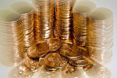 Stacks of  US dollar gold coins Stock Photos