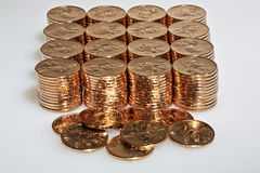 Stacks of  US dollar gold coins Stock Images