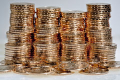 Stacks of  US dollar gold coins. Stacks of  dollar gold coins with native american sacagawea's image Stock Image