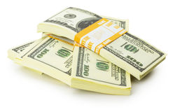 Stacks of US dollars bundle isolated on the white background Royalty Free Stock Images