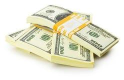 Stacks of US dollars bundle isolated on the white background Royalty Free Stock Images