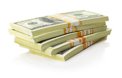 Stacks of US dollars bundle  on the white background Royalty Free Stock Photography