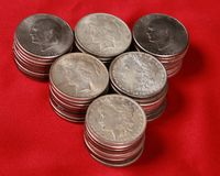 Stacks of US silver dollars Stock Images