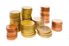 Stacks of various euro coins Stock Images