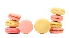 Stacks of various macaron cakes. Close up. Royalty Free Stock Photo