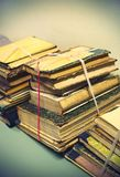 Old vintage books, close-up Royalty Free Stock Photos