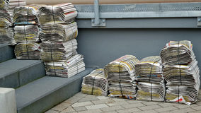 A stacks of the weekly newspapers. Royalty Free Stock Images
