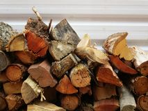 Stacks of wood for the fireplace Stock Images