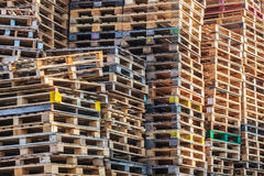 Stacks of wooden euro pallets. Stacks of colorful wooden euro pallets Royalty Free Stock Photo