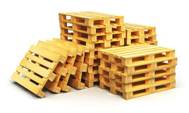 Stacks of wooden shipping pallets Stock Images