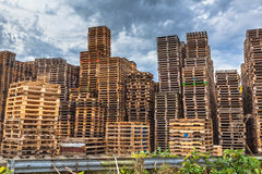 Stacks of Wooden Transportation Pallets. Stacks of used Wooden Euro Pallets at a Recycling Depot Royalty Free Stock Images