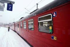 stacyjna zimy pociągu Obraz Royalty Free
