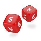 Staczać się Dices z waluta symbolami Zdjęcia Stock