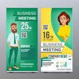 Stacza się Up pokazu wektor Pionowo Plakatowy szablonu układ Biznesmen i biznesowa kobieta Technika, nauka Dla biznesu ilustracja wektor