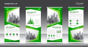 Stacza się up sztandaru szablonu statywowego projekt, Zielony sztandaru układ, reklamy royalty ilustracja