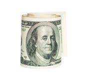 Staczający się jeden Dolara rachunek Zdjęcia Stock