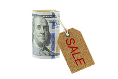 Staczający się nowy Zlany twierdzić 100 dolarów banknot, pieniądze rolka z co fotografia stock