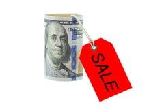 Staczający się nowy Zlany twierdzić 100 dolarów banknot, pieniądze rolka z ponownym obrazy stock