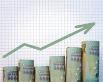 Staczający się w górę euro Zdjęcia Stock