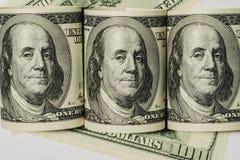 Staczający się w górę sto dolarowych rachunków Zdjęcie Royalty Free