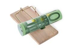 Staczająca się euro notatka Na Mousetrap Fotografia Stock