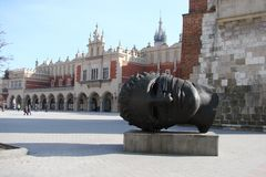Stad †‹â€ ‹van Krakau Polen het landschap van moderne en oude Katholieke architectuur en monumenten van beeldhouwwerk Stock Afbeelding