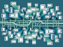 Stad Één Puntperspectief Stock Afbeelding