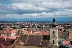 stad över den romania sibiu sikten royaltyfri fotografi