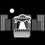 stad över ufo royaltyfri illustrationer