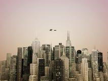 stad över ufo Arkivfoto