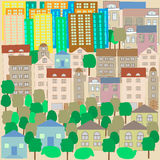 Stad, achtergrond in Krabbelstijl, affiche, affiche Stock Foto