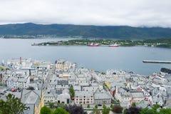 Stad Alesund från över Arkivfoto