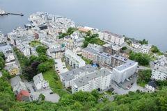 Stad Alesund från över Arkivbilder