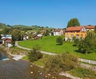 Stad av Appenzell i Schweiz i höst Arkivfoto