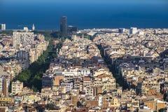 Stad av Barcelona cityscape i Catalonia Arkivfoton