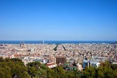 Stad av Barcelona från över Arkivfoton