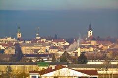 Stad av Bjelovar vinterhorisont Arkivfoto
