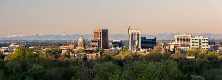 Stad av Boise Idaho i morgonljus Fotografering för Bildbyråer