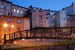 Stad av Bydgoszcz vid natt i Polen Royaltyfria Bilder
