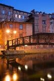 Stad av Bydgoszcz vid natt i Polen Royaltyfri Bild