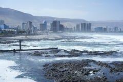 Stad av den Iquique och Cavancha stranden Nord av Chile Royaltyfri Foto