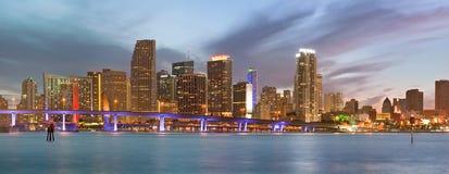 Stad av den Miami Florida panoramat Arkivbild