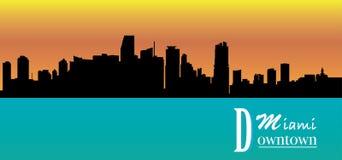 Stad av den Miami konturn - - scalable - livlig färg - byggnader - affisch royaltyfri illustrationer